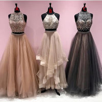 Elegant Two Piece Beaded Long Prom Dress   cg6850