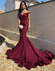 Burgundy Prom Dresses Off the Shoulder Evening Dresses Sweep Train  cg6868