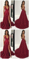 Sexy Halter Wine Red Lace Long Formal Evening Dress cg687