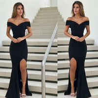 Sheath Off-the-Shoulder Black Elastic Satin Prom Dress with Split  cg6881