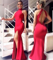 Boho Prom Dress, Red Satin Prom Dresses Long Mermaid Evening Dresses Halter Formal Gowns Sexy Backless Party Graduation Dresses  cg6889