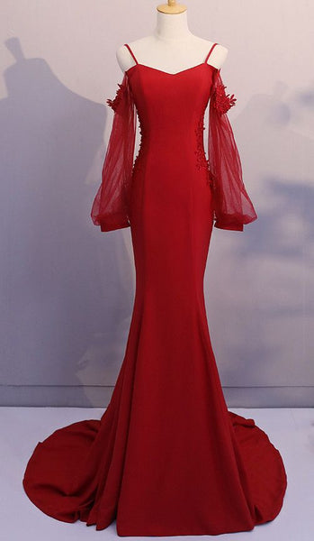 Red Spandex Mermaid Long Prom Dress 2020, Red Formal Gowns, Red Formal Dresses  cg6907