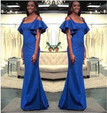 Royal Blue Mermaid Prom Dresses Scoop Short Sleeve Long Party Gowns Evening Dresses  cg6909