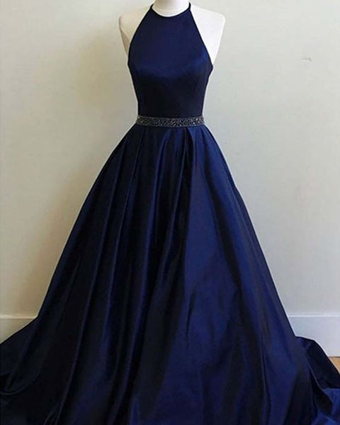 halter navy blue satin prom dress with belt, long simple formal dress cg690