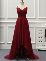 A Line High Low Backless Burgundy Tulle Long Prom Dresses   cg6928
