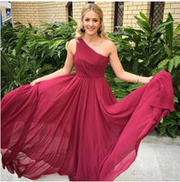 Simple burgundy one shoulder long prom dress, burgundy evening dresses  cg6941