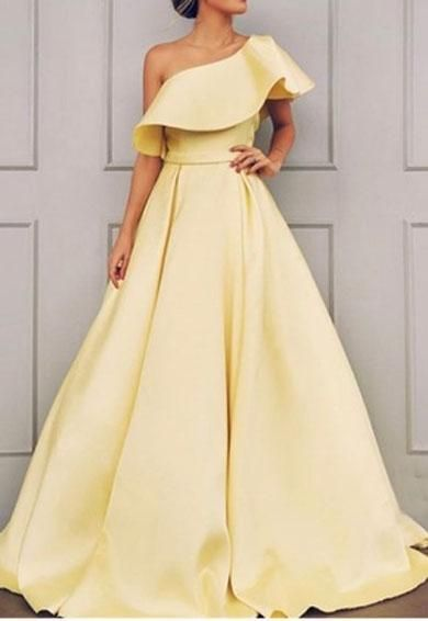 Simple one shoulder yellow long prom dress 2019 cg695