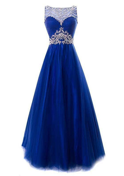 Long Prom Dress,Royal Blue Prom Dresses,Tulle Evening Dresses,Formal Evening Gown  cg6962