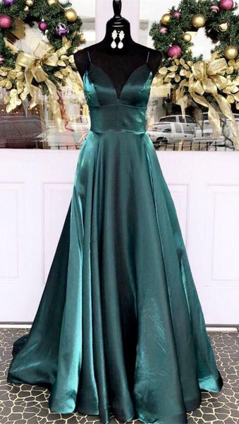 Prom Dresses Ball Gown, Spaghetti Straps Dark Teal Long Prom Dress, Empire Long Evening Dress  cg6967