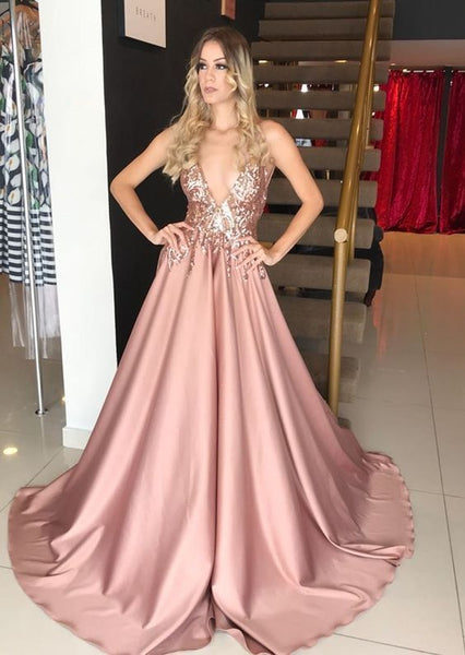 A-Line Deep V-Neck Pink Sequin Long Prom Dress cg697