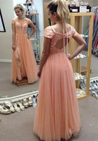A-Line Cold Shoulder Open Back Coral Tulle Prom Dress with Appliques  cg6991