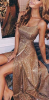 Sparkly Sequin Side Slit Shinning Long Modest Simple A line Prom Dress  cg699