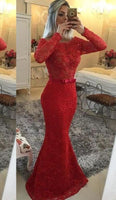 2020 Gorgeous Red Illusion Mermaid/Trumpet Lace Prom Dresses  cg7003