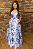 Gorgeous A-Line White and Blue Floral Long Prom Dress  cg7006