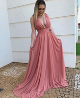 Simple Plunging Neck Chiffon Evening prom Dress  cg7008