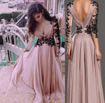 V-Neck Long Sleeve Lace Prom Dresses Evening Dresses cg700