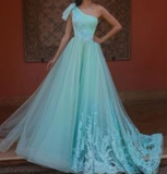 green prom dresses 2020 one shoulder pleats lace appliques a line tulle evening dresses gowns  cg7023