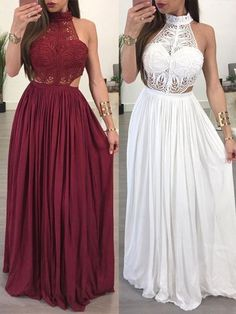 Simple Prom Dress, 2020 Burgundy White Lace High Neck Sleeveless Sheath/Column Chiffon Prom Dresses  cg7035