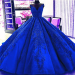 Gorgeous Royal Blue Appliques Beads Quinceanera Dresses, Formal Ball Gown Prom Dress cg703