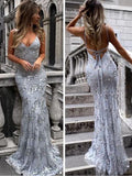 Sexy Backless Gray Sequin Lace Mermaid Long Evening Prom Dresses, Cheap Prom Dresses cg704