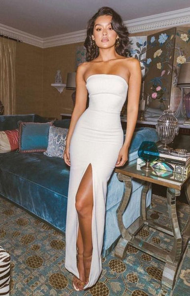 Sexy Side Slit Strapless Evening Party Dress, Simple Long Prom Dress cg706