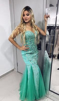 Trumpet/Mermaid Mint Green Sweetheart Tulle Beaded Prom Dresses   cg7074