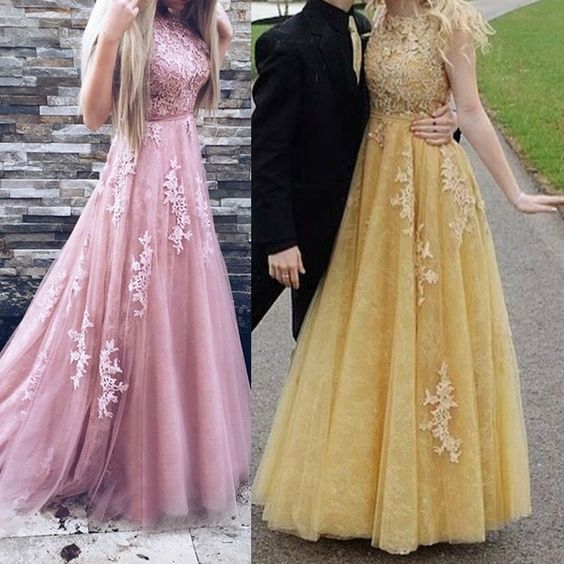 Long Prom Dresses A Line Appliques Lace Sleeveless Blush Pink Formal Evening Gowns Prom Dress Party Dress  cg7086