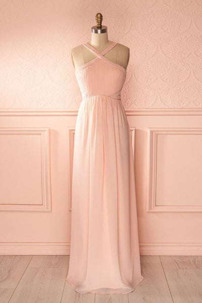 Pink chiffon V neck strapless long sweet 16 prom dress, long open back bridesmaid dress  cg7087