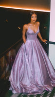 A line prom evening dress ,purple fashion gown cg709