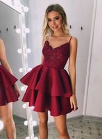 Burgundy v neck lace satin short dress, homecoming dress cg711