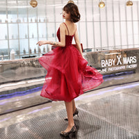 BURGUNDY V NECK TULLE SHORT homecoming DRESS, HOMECOMING DRESS cg712