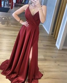 Charming V neck Burgundy Prom Dresses, Side Slit Evening Party Dress  cg7123