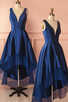 Dark blue v neck high low prom dress, dark blue bridesmaid dress  cg7129