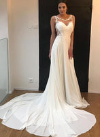 White chiffon lace long prom dress, white evening dress cg713