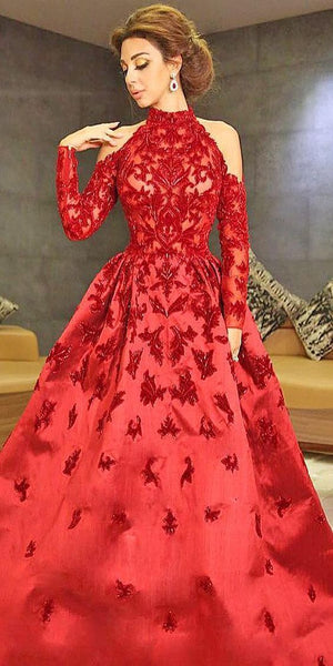 Lovely Red Prom Dress With Appliques  cg7162