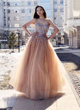 Stylish sweetheart neck tulle beads long prom dress, evening dress cg716