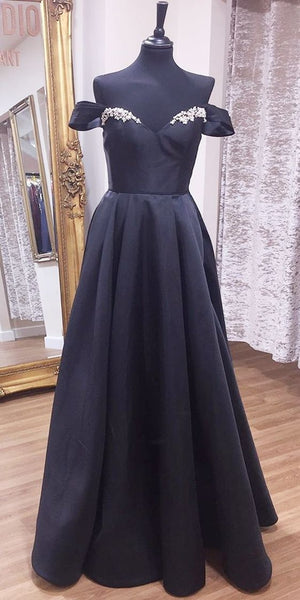 Off Shoulder A-Line Black Long Prom Dress  cg7170