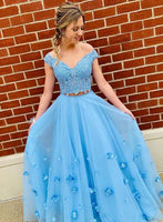 Blue lace tulle long prom dress, two pieces evening dress cg720