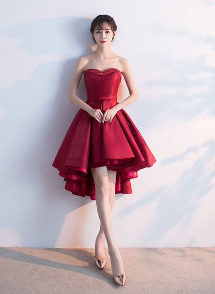 Cute burgundy sweetheart neck short dress, homecoming dress cg724