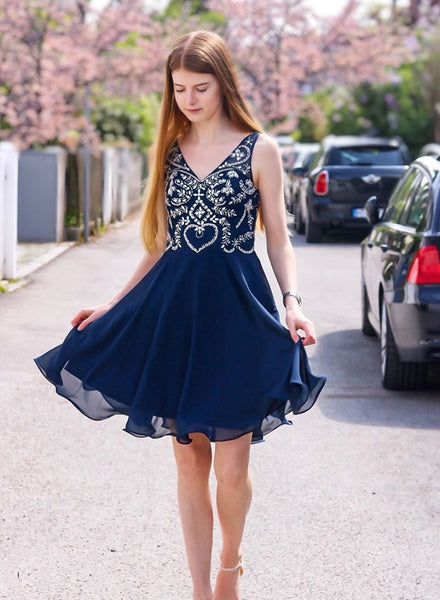 Cute blue v neck beads short dress, homecoming dress cg725