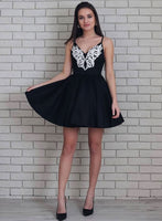 Cute v neck lace short dress, homecoming dress cg726