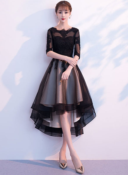 Black lace tulle short dress, homecoming dress cg728