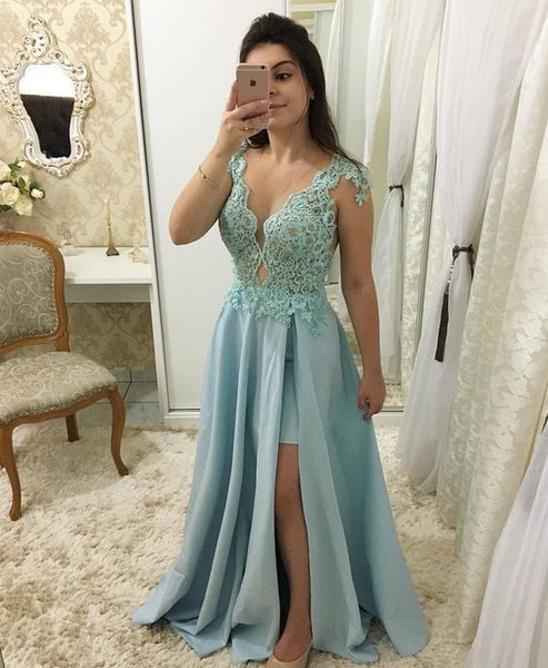 lace chiffon simple prom dresses  cg7340