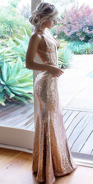 Mermaid Spaghetti Straps Floor-Length Champagne Sequined Prom Dress cg734