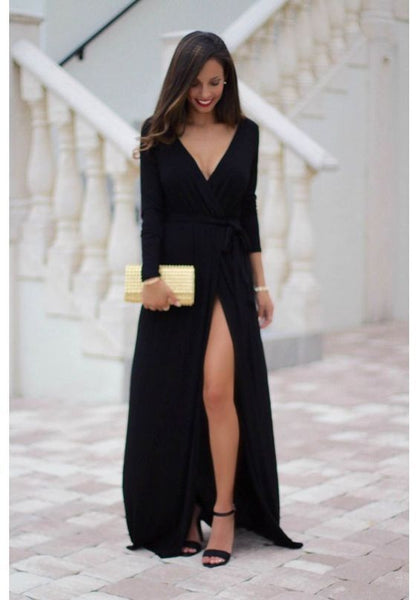 Custom Made Black Prom Dress,Long Sleeves Evening Dress, Deep V-Neck Party Gown,Side Slit Prom Dress cg735