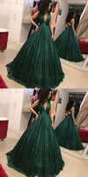 A-Line V-Neck Open Back Dark Green Sequin Prom Dress cg736