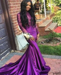 Simple Prom Dress, Amazing Mermaid Purple Long Sleeves With Appliques Long Prom Dresses   cg7366