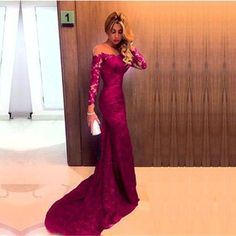 Sheer Neckline Long Sleeves Lace Prom Dresses Mermaid Evening Gowns Fashion Prom Dress  cg7386