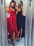 High Low V Neck Simple Cheap Short Red Homecoming Dresses cg73