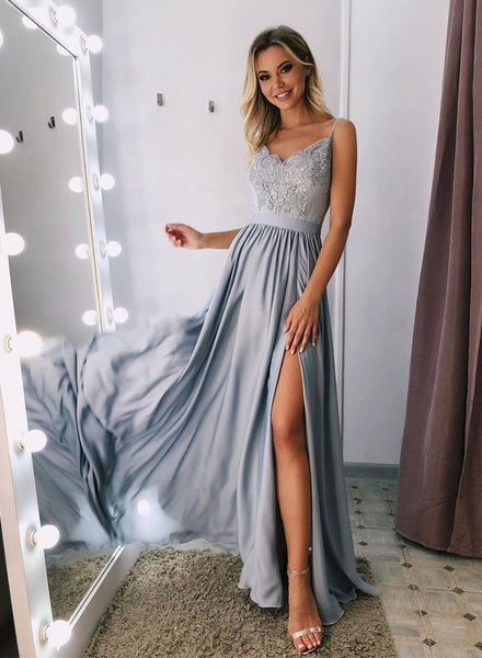 Gray v neck lace long prom dress, lace evening dress cg743